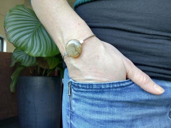 leren armband met bruine agaat