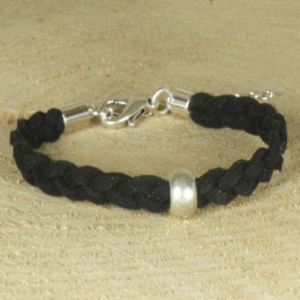 stoere zwarte gevlochten armband