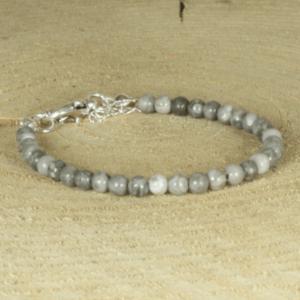 kralenarmband van natuursteen -grijs-beige