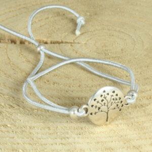 elastisch armbandje met levensboom zilvergrijs
