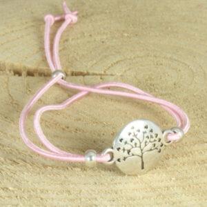 elastisch armbandje levensboom roze