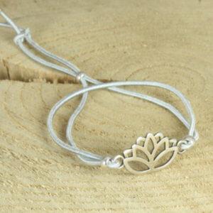 elastisch armbandje lotus zilvergrijs