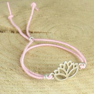 armband met lotusbloem elastiek roze