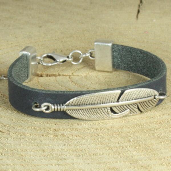 leren armband met veer blauw