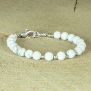 kralenarmband wit grijs marmer