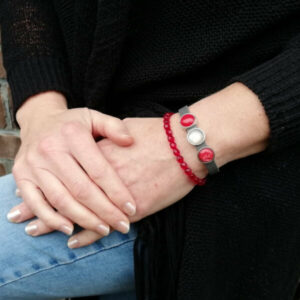 leren armband set antraciet rood