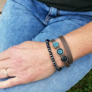 leren wikkelarmband set diepgrijs en groenblauw